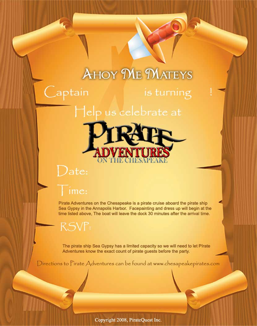 Pirate Party Invite with perfect invitation layout